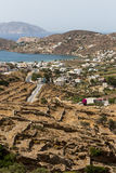 Aerial view of Chora town, Ios island, Cyclades, Aegean, Greece Stock Photos