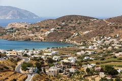 Aerial view of Chora town, Ios island, Cyclades, Aegean, Greece Royalty Free Stock Images