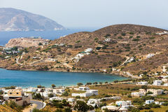 Aerial view of Chora town, Ios island, Cyclades, Aegean, Greece Stock Images