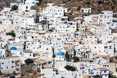Aerial view of Chora town, Ios island, Cyclades, Aegean, Greece Stock Image