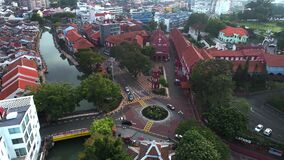 Aerial view of Christ Church, an 18th-century Anglican church in the city of Melaka, Malaysia. It is also the oldest functioning