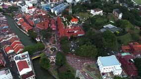 Aerial view of Christ Church, an 18th-century Anglican church in the city of Melaka, Malaysia. It is also the oldest functioning P