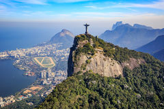 Aerial view of Christ the Redeemer and Rio de Janeiro city. Brazil Royalty Free Stock Photos