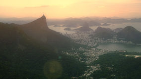 Aerial View of Christ the Redeemer Statue and Sugar Loaf Stock Image