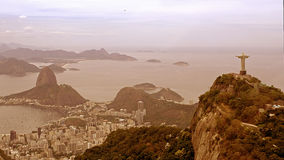 Aerial View of Christ the Redeemer Statue and Sugar Loaf Stock Photos