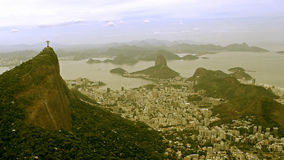 Aerial View of Christ the Redeemer Statue and Sugar Loaf Royalty Free Stock Images