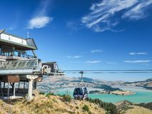 Aerial view of the Christchurch Gondola and the Lyttelton port from Port Hills in New Zealand. royalty free stock image