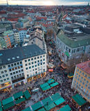 Aerial view of christmas markets in Munich Stock Photo