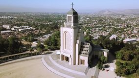 Aerial view of church architecture in Chile. Aerial view of a church architecture and garden in Santiago, Chile Stock Image