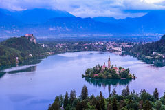Aerial view of Church of the Assumption in Lake Bled Royalty Free Stock Photo