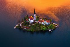 Aerial view of church of Assumption in Lake Bled, Slovenia stock photo