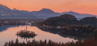 Aerial view of church of Assumption in Lake Bled, Slovenia Royalty Free Stock Images