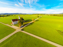Aerial View Of A Church. In bavaria, germany Royalty Free Stock Photos