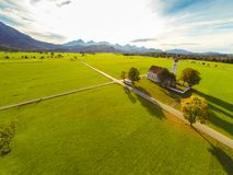 Aerial View Of A Church. In bavaria, germany Stock Image