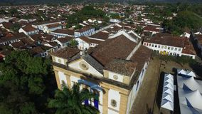 Aerial view church of the beautiful portuguese colonial typical town of parati in rio de janeiro state Brazil. stock video footage