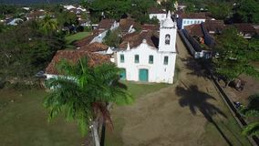 Aerial view church of the beautiful portuguese colonial typical town of parati in rio de janeiro state Brazil. stock footage