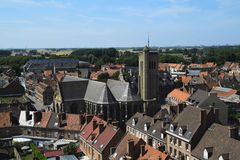Aerial view of a church - Bergues, France royalty free stock photo