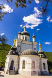 Aerial view on Church of Christ`s Resurrection. Crimea, Russia royalty free stock photography