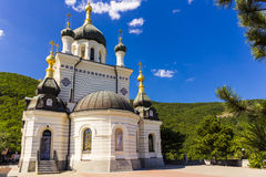 Aerial view on Church of Christ`s Resurrection. Crimea, Russia royalty free stock photo
