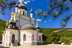 Aerial view on Church of Christ`s Resurrection. Crimea, Russia royalty free stock photos