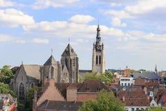 Aerial view of  church the city of Kortrijk in Flanders, Belgium. Stock Photo