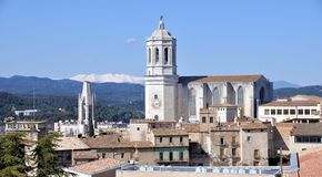 Aerial view of Church in Girona Stock Image