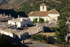 Aerial view of church and houses in Bubion Stock Photography