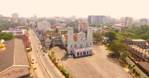 Aerial view of church in india. Helicam shot stock video