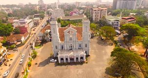 Aerial view of church in india. Helicam shot stock footage