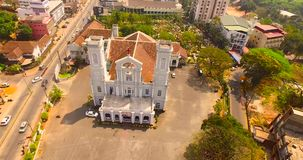 Aerial view of church in india. Helicam shot stock video footage