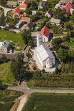 Aerial view of church in Jasienica Gorna  village  near Nysa cit Royalty Free Stock Images