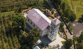 Aerial view of church in Jasienica Gorna  village  near Nysa cit Royalty Free Stock Photo