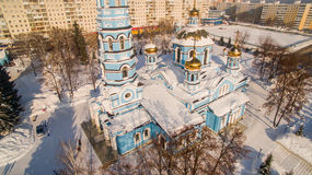 Aerial view of Church Nativity Blessed Virgin Russia Ufa 17 february 2017 Stock Image