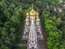 Aerial view of the Church near Shipka Royalty Free Stock Photo