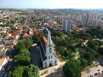 Aerial view of the Church Nossa Senhora Aparecida in Sertaozinho city, Sao Paulo, Brazil Royalty Free Stock Images
