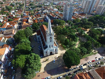 Aerial view of the Church Nossa Senhora Aparecida in Sertaozinho Royalty Free Stock Image