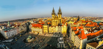 Aerial view on Church of Our Lady before Tyn and Staromestske Na Royalty Free Stock Images