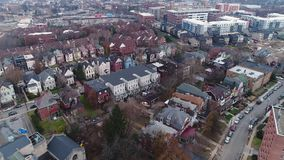 Aerial view of church and residential neighborhood in Pittsburgh