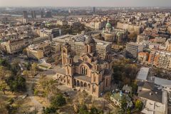 Aerial view of Church of Saint Mark royalty free stock photo