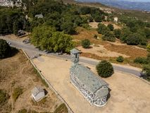 Aerial view of the church of San Michele de Murato, bell tower and apse. Corsica, France Royalty Free Stock Photo