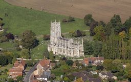 Aerial View of Church of St Mary Steeple Ashton stock photos
