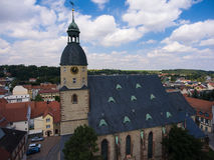 Aerial view church St. Nicolai schmoelln thuringia germany Stock Image