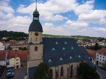 Aerial view church St. Nicolai schmoelln thuringia germany Royalty Free Stock Photos