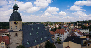 Aerial view church St. Nicolai schmoelln thuringia germany Royalty Free Stock Photography