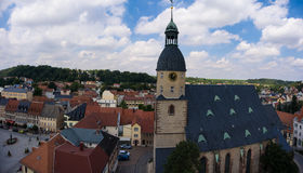 Aerial view church St. Nicolai schmoelln thuringia germany Stock Images