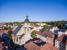 Aerial view church St. Nicolai schmoelln thuringia germany Stock Photography