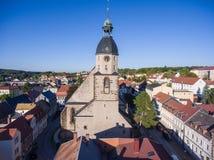 Aerial view church St. Nicolai schmoelln thuringia germany Stock Photo