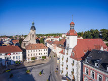 Aerial view church St. Nicolai and town hall schmoelln thuringia Royalty Free Stock Photography