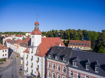 Aerial view church St. Nicolai and town hall schmoelln thuringia Royalty Free Stock Image