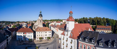 Aerial view church St. Nicolai and town hall schmoelln thuringia Stock Image